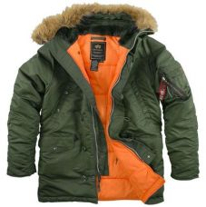 Зимняя куртка Alpha Industries Slim Fit N-3B Parka Sage/Orange - С гарантией