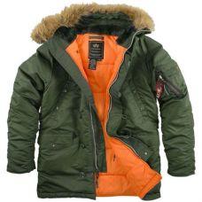 Зимняя куртка Alpha Industries Slim Fit N-3B Parka Sage/Orange - С гарантией